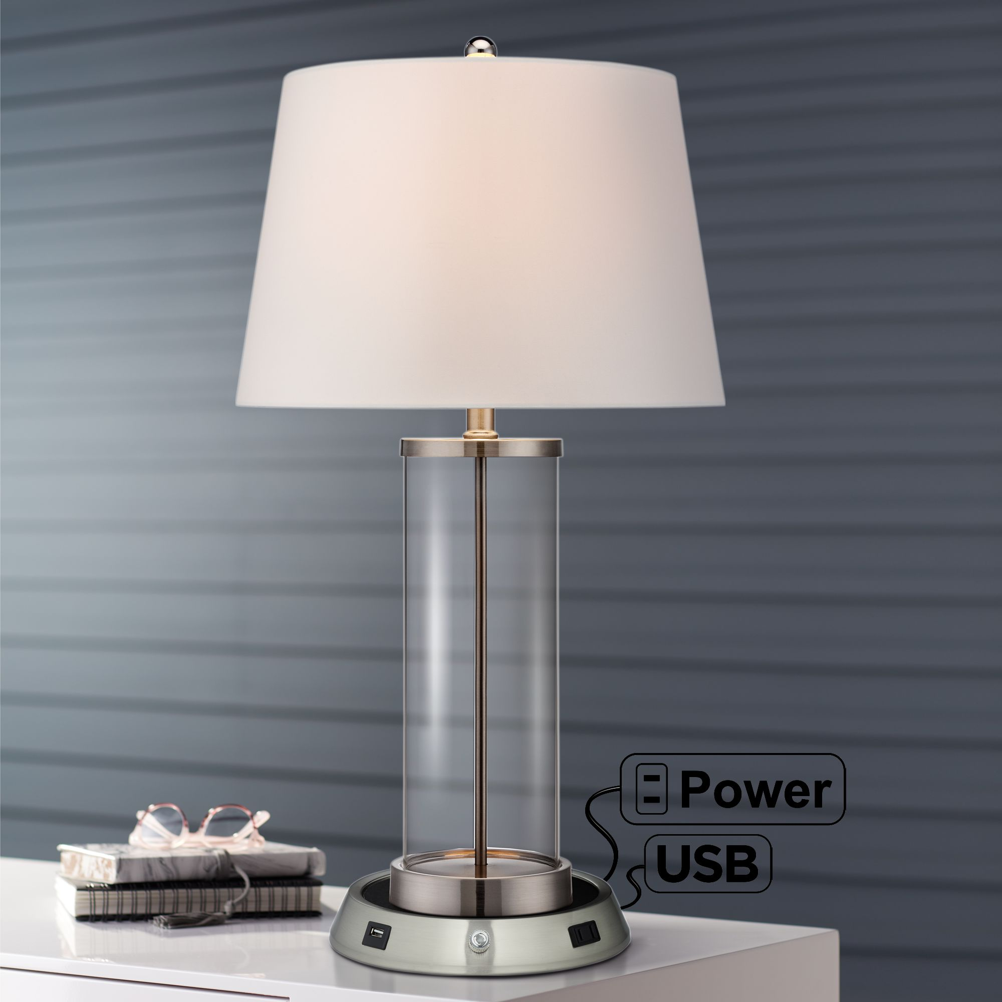 Modern Table Lamp With Usb Outlet Workstation Base Fillable Clear Glass Bedroom Ebay