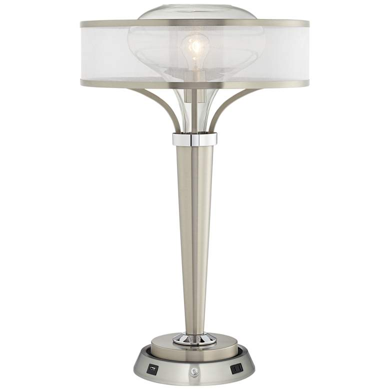 Layne Brushed Nickel Table Lamp w/ Dimmable Workstation Base