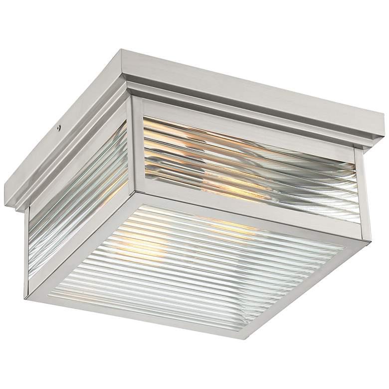 "Quoizel Gardner 12""W Stainless Steel Outdoor Ceiling Light"