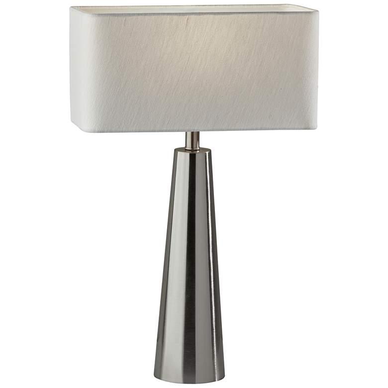 Lillian Brushed Steel Metal Column Table Lamp