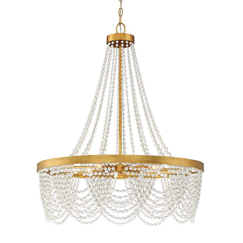 """Crystorama Fiona 27"""" Wide Antique Gold 4-Light Chandelier"""
