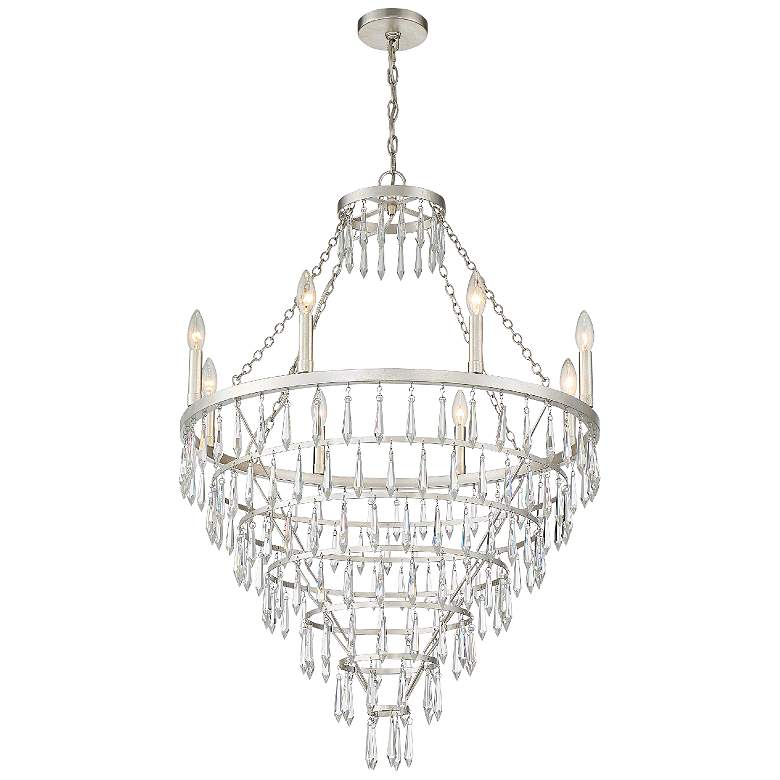 """Crystorama Lucille 28""""W Antique Silver 8-Light Chandelier"""