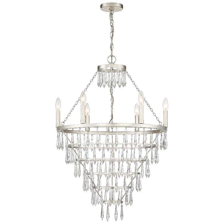 "Crystorama Lucille 24""W Antique Silver 6-Light Chandelier"