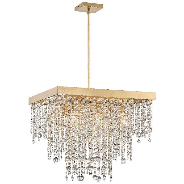 "Crystorama Winham 22""W Antique Gold Crystal Pendant Light"