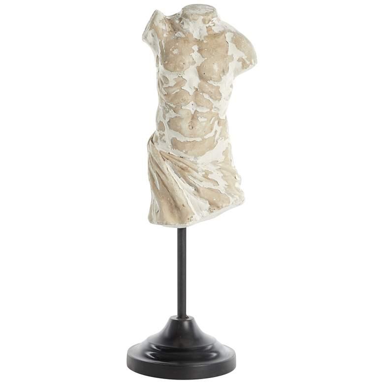 "Male Torso 17"" High Fiber Clay Sculpture"