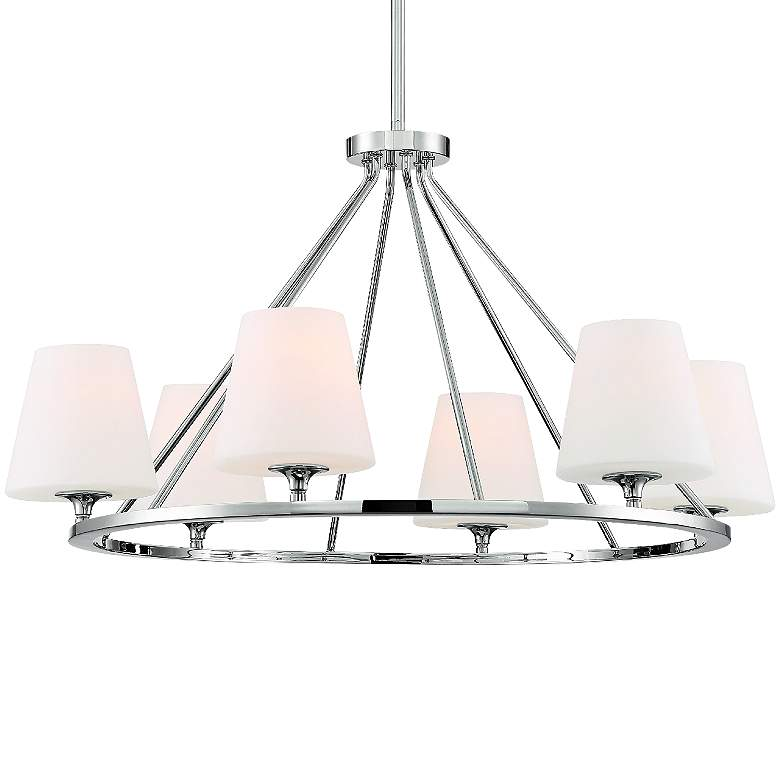 "Crystorama Keenan 31 1/4""W Nickel 6-Light Round Chandelier"