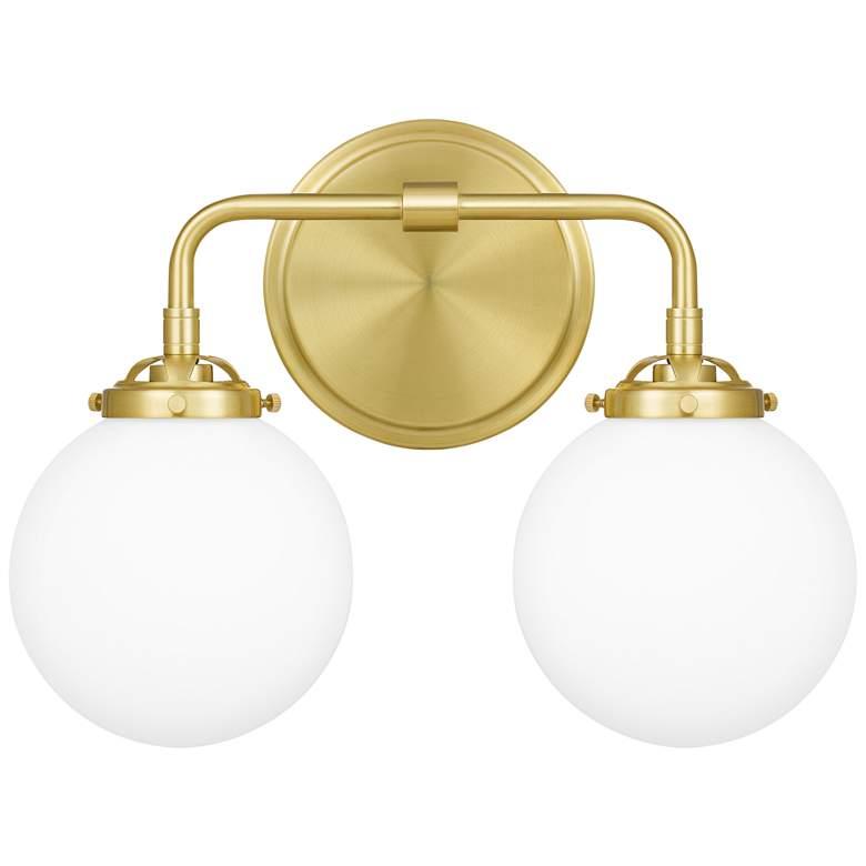 "Quoizel Landry 10 3/4"" High Satin Brass 2-Light Wall Sconce"