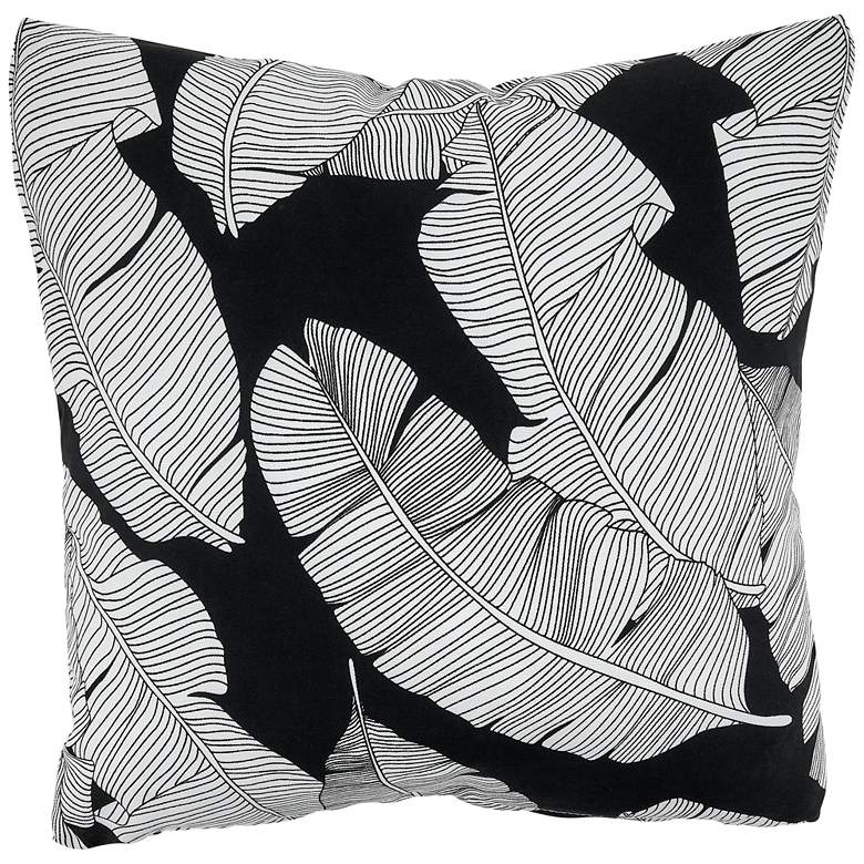 """Sketch Leaf Back and White 17"""" Square Outdoor Pillow"""