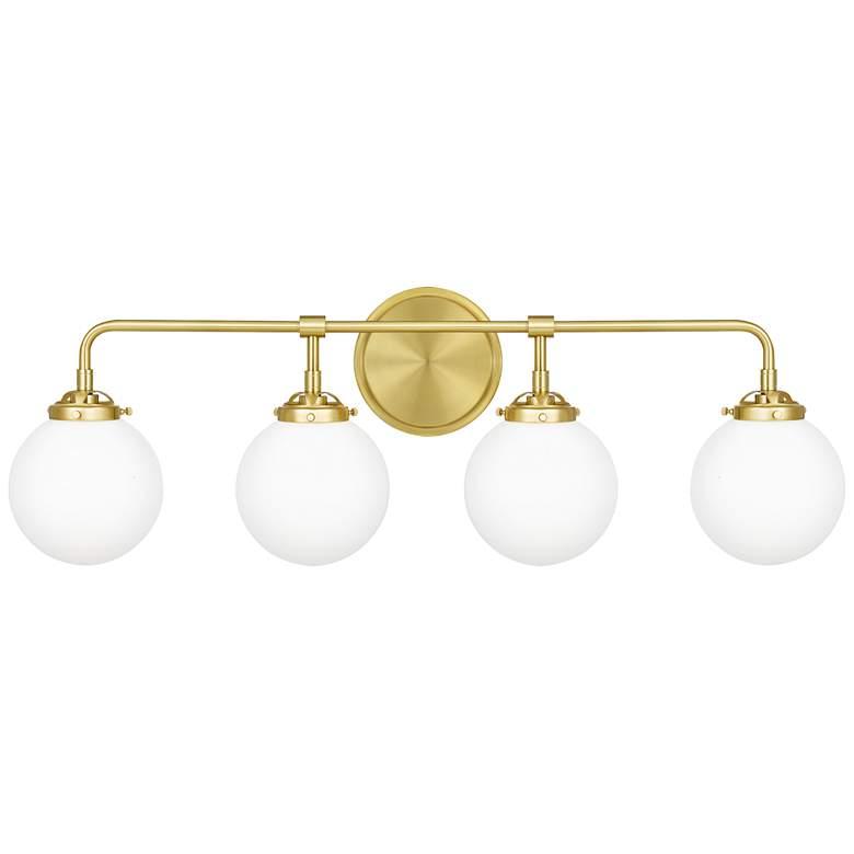 "Quoizel Landry 32"" Wide Satin Brass 4-Light Bath Light"