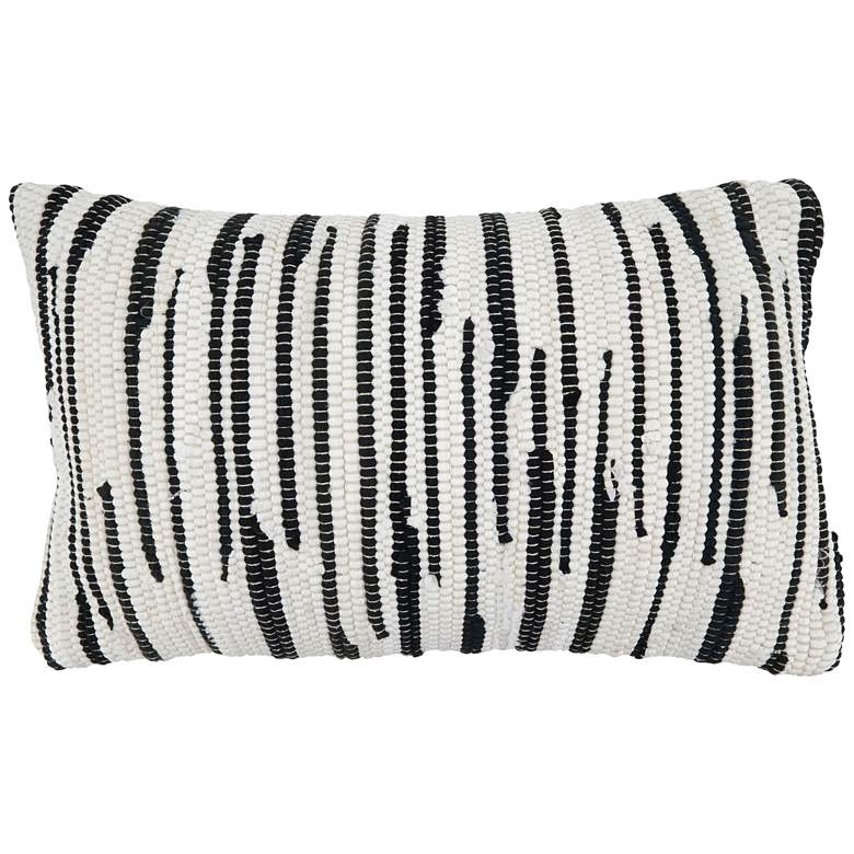 """Zebra Chindi Back and White 23"""" x 14"""" Decorative Pillow"""