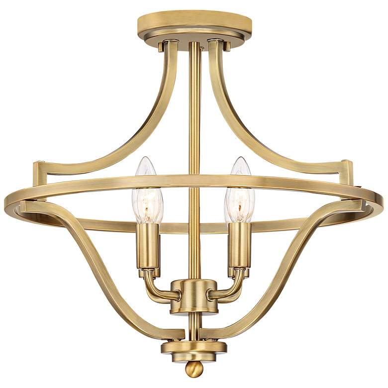 "Quoizel Harvel 16""W Weathered Brass 4-Light Ceiling Light"