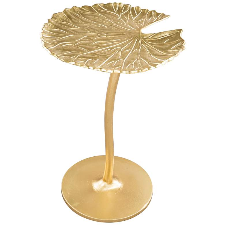 "Zuo Lily 15"" Wide Gold Leaf-Shaped Metal Side Table"