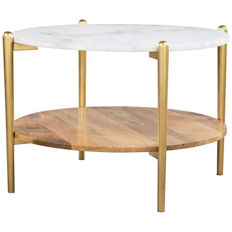 """Zuo Mina 30"""" Wide White Marble and Gold Coffee Table"""