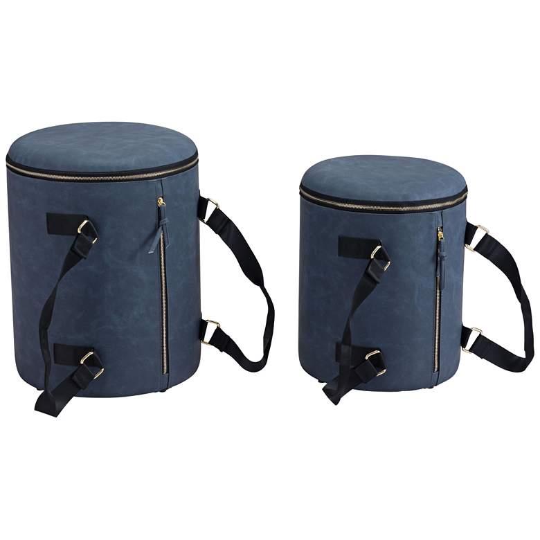 Zuo Candice Blue Round Storage Ottomans Set of 2
