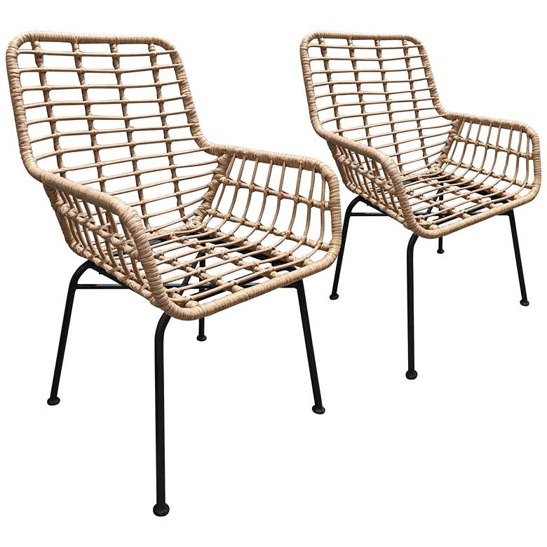 Zuo Lyon Natural Woven Outdoor Chairs Set of