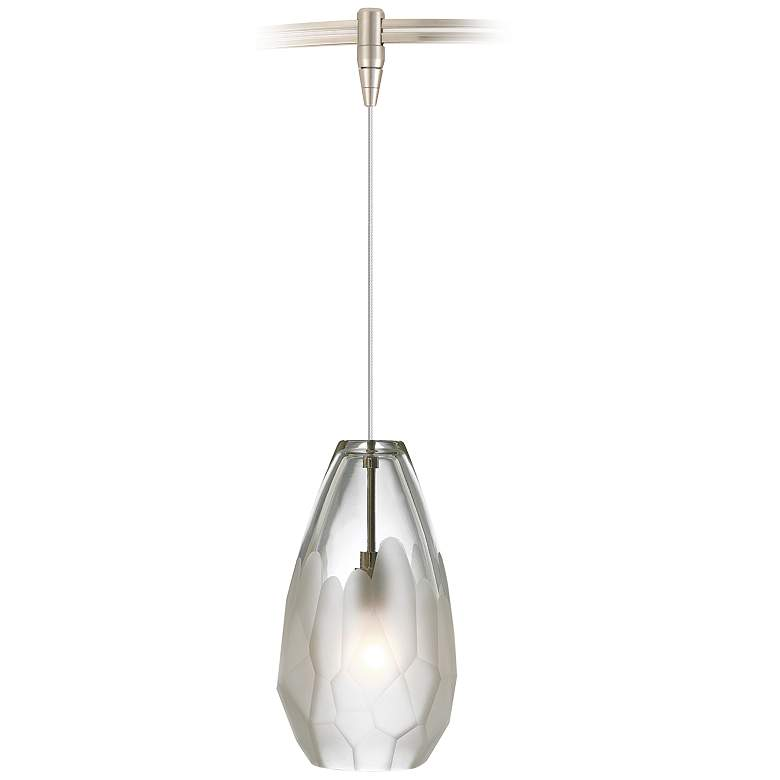 "Briolette 4 1/4"" Wide Frost Glass LED Monorail Mini Pendant"