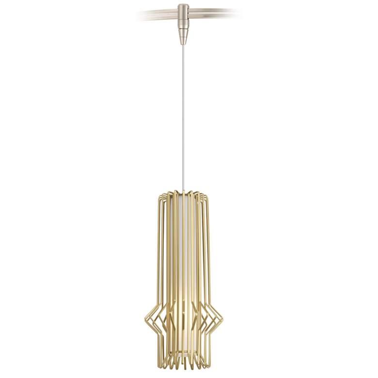 "Syrma 5"" Wide Satin Gold LED Monorail Mini Pendant Light"
