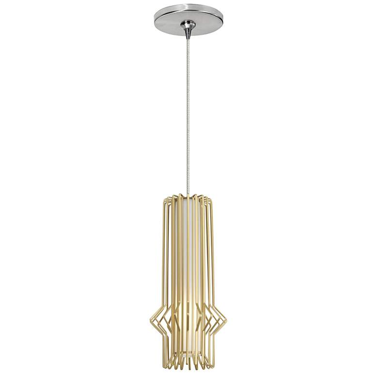 "Syrma 5"" Wide Satin Gold LED Freejack Mini Pendant Light"