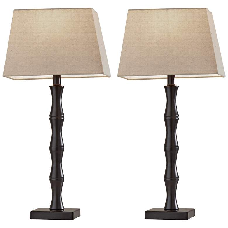 Bamboo Black Finish Table Lamps Set of 2
