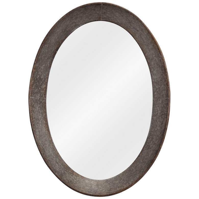 "Kenroy Home Antillean Galvanized 27"" x 37"" Oval Wall Mirror"