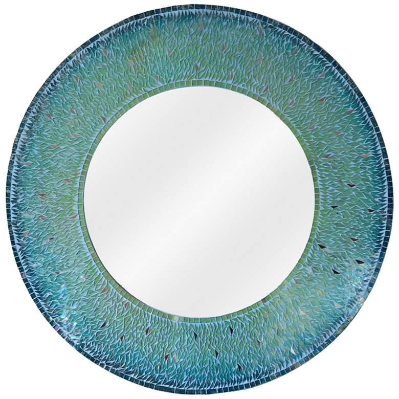 "Kenroy Home Seashore Teal 34"" Round Wall Mirror"