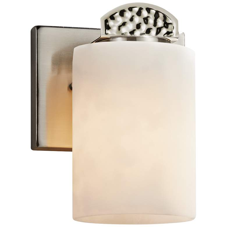"Clouds™ Malleo 7""H Nickel Faux Porcelain Wall Sconce"