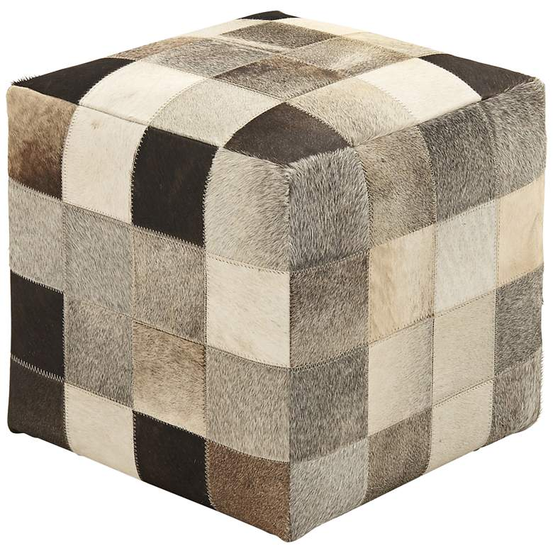 Cordova Weathered Brown and Gray Leather Hide Pouf Ottoman