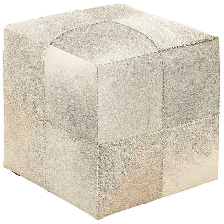 Astoria Weathered Ivory Leather Hide Pouf Ottoman