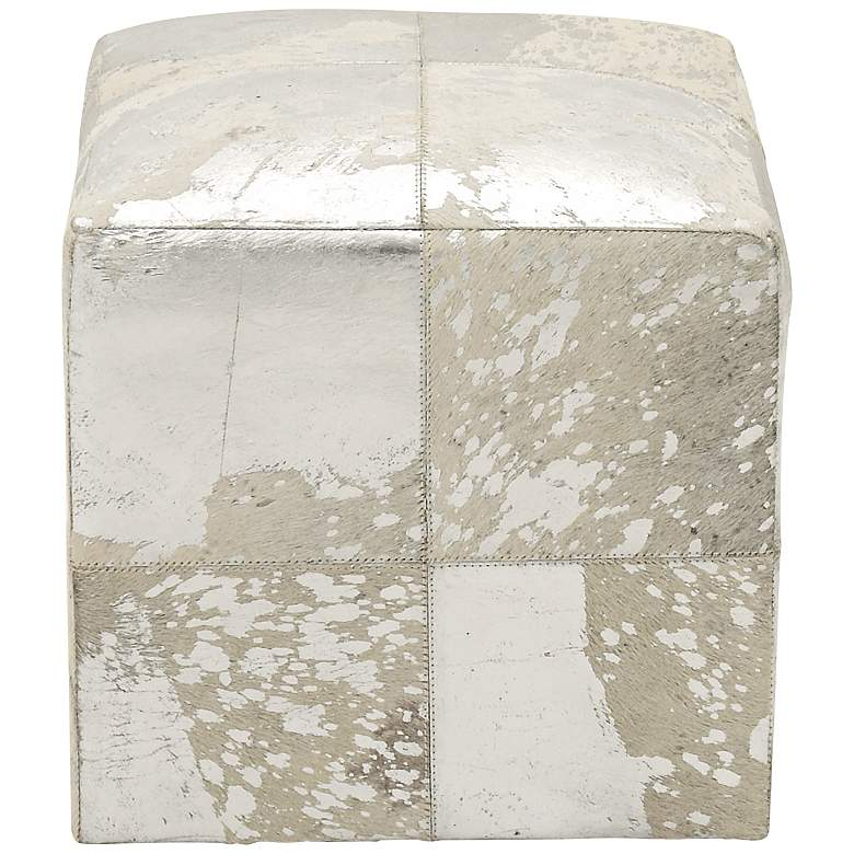 Astoria Weathered Silver Leather Hide Pouf Ottoman