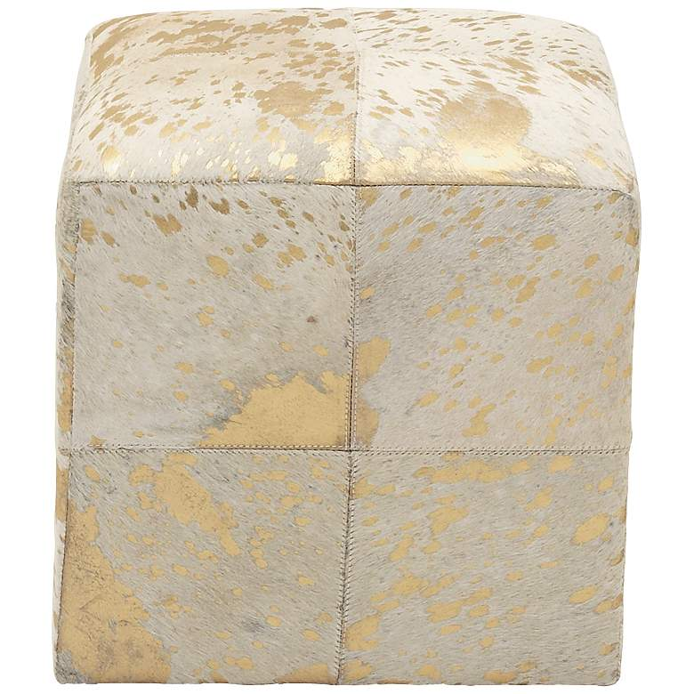 Astoria Weathered Gold Leather Hide Pouf Ottoman