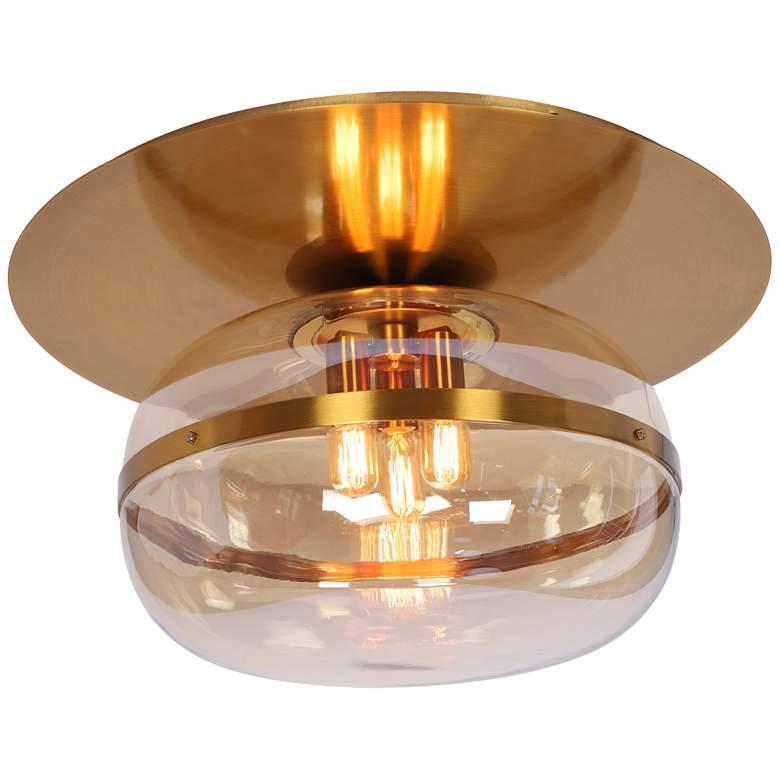 """Eurofase Nottingham 27 1/2"""" Wide Brass 3-Light Ceiling Light"""