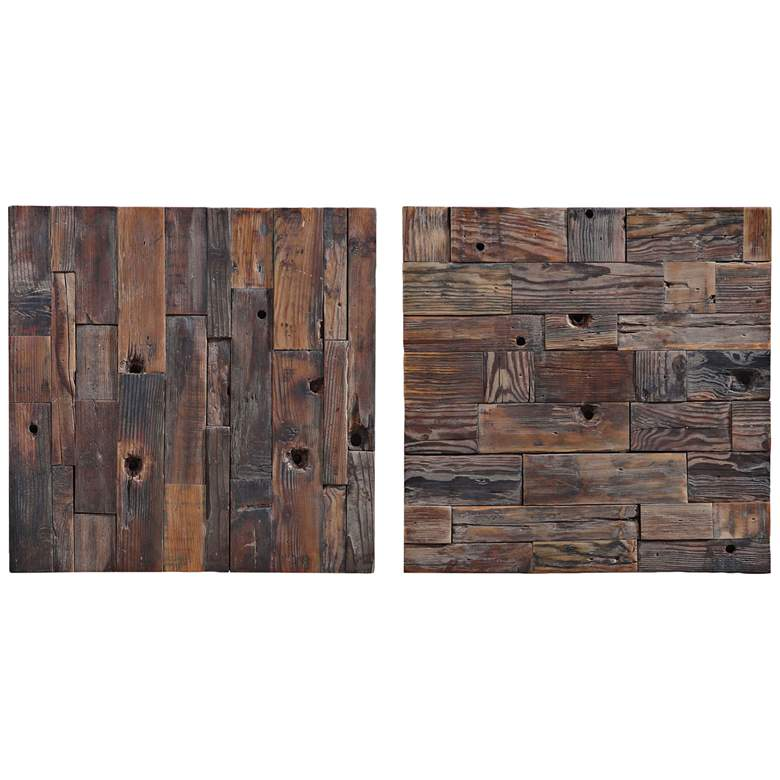 """Uttermost Astern 20"""" Square Boat Wood 2-Piece Wall Art Set"""