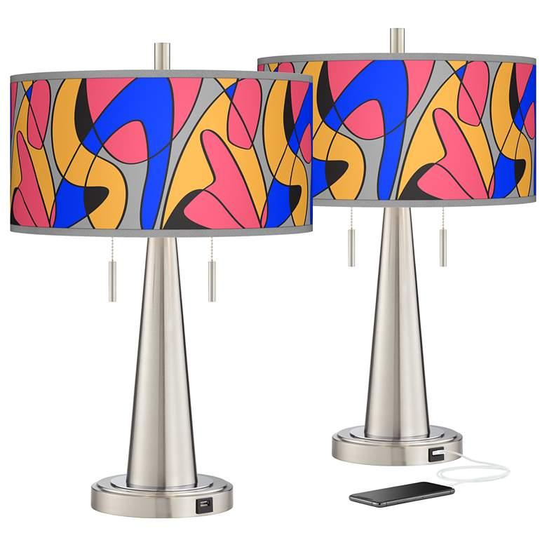 Pop Modern Vicki Brushed Nickel USB Table Lamps