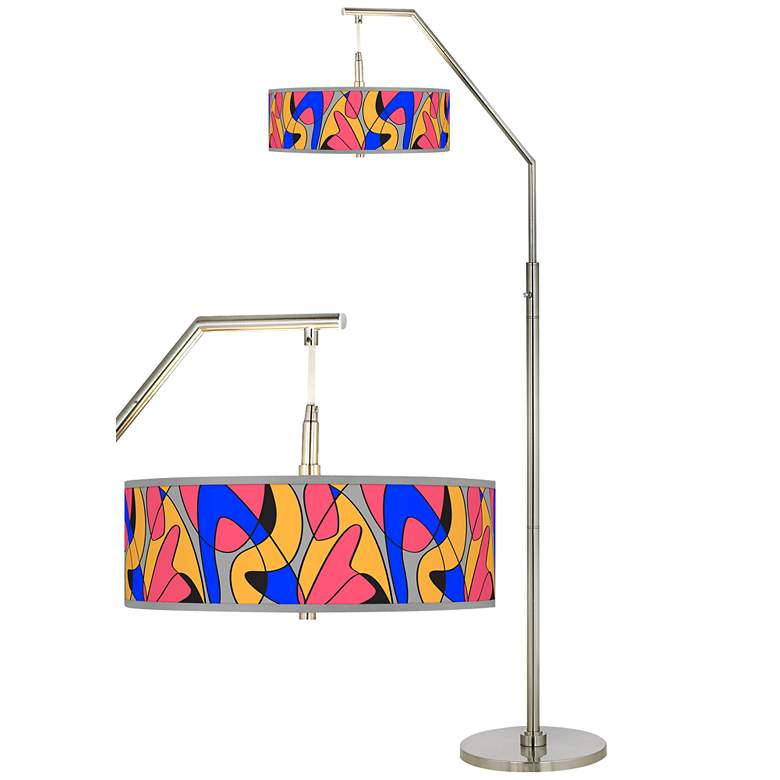Pop Modern Giclee Shade Arc Floor Lamp