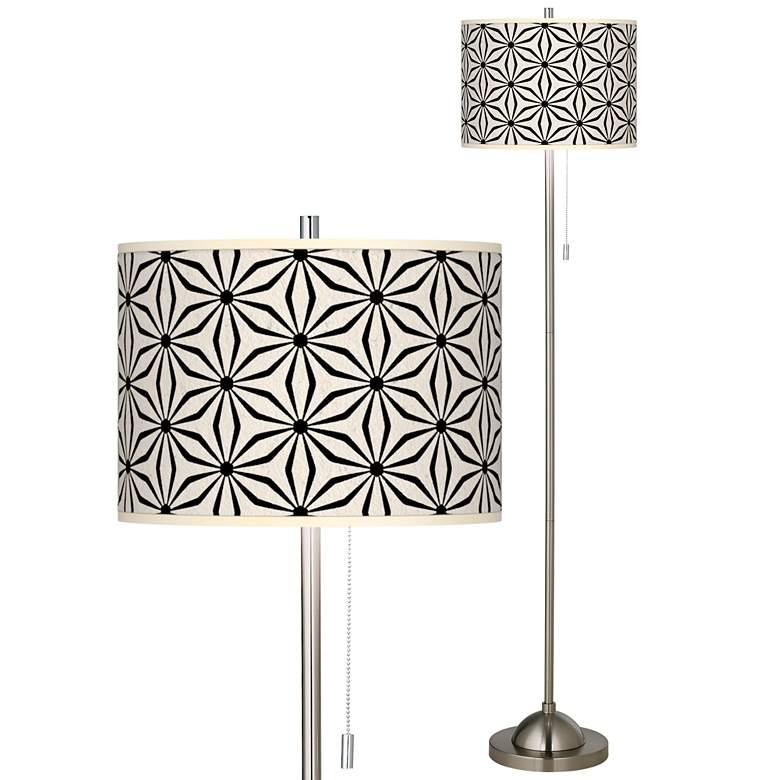 Kaleidoscope Flowers Brushed Nickel Pull Chain Floor Lamp