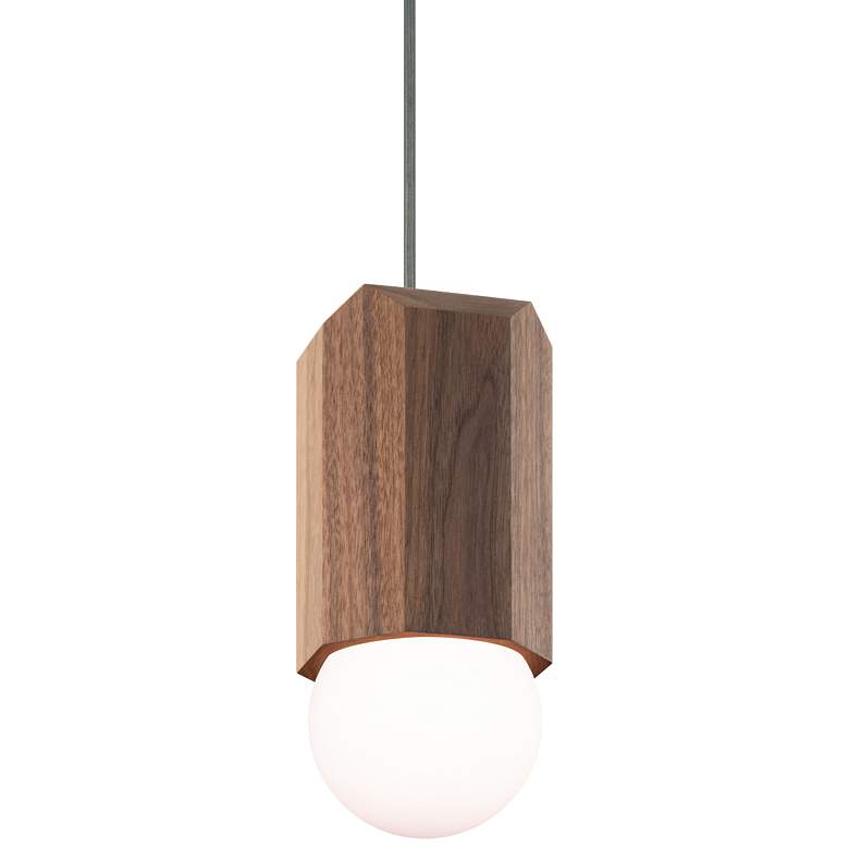 "Cerno Bimar 5 1/2"" Wide Walnut LED Mini Pendant Light"