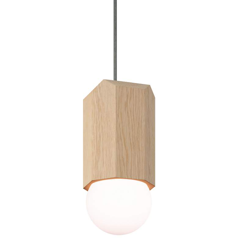 "Cerno Bimar 5 1/2""W White Washed Oak LED Mini Pendant Light"