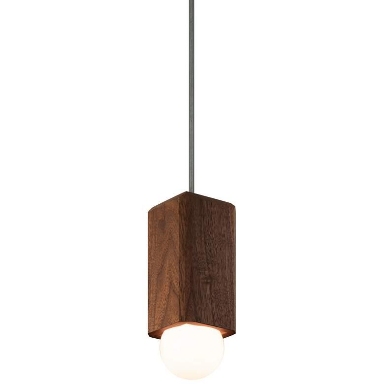 "Cerno Cano 3 1/2"" Wide Walnut LED Mini Pendant Light"