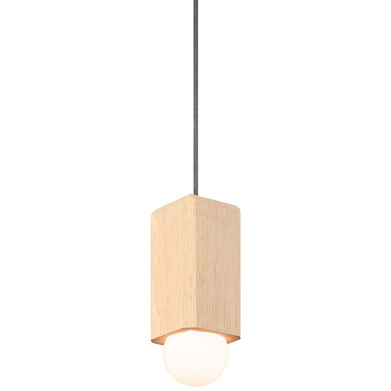 "Cerno Cano 3 1/2""W White Washed Oak LED Mini Pendant Light"