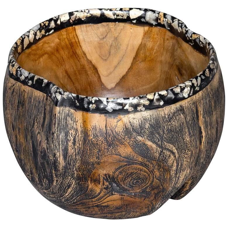 "Chikasha 10 1/4"" Wide Natural Teak Wood Decorative"