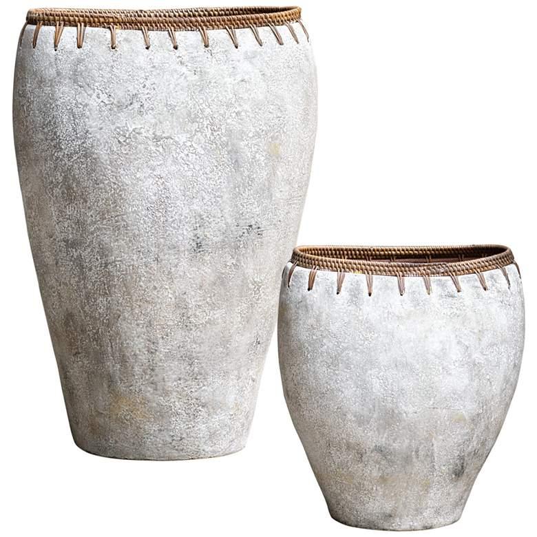 Uttermost Dua Natural Stone Decorative Vases Set of 2