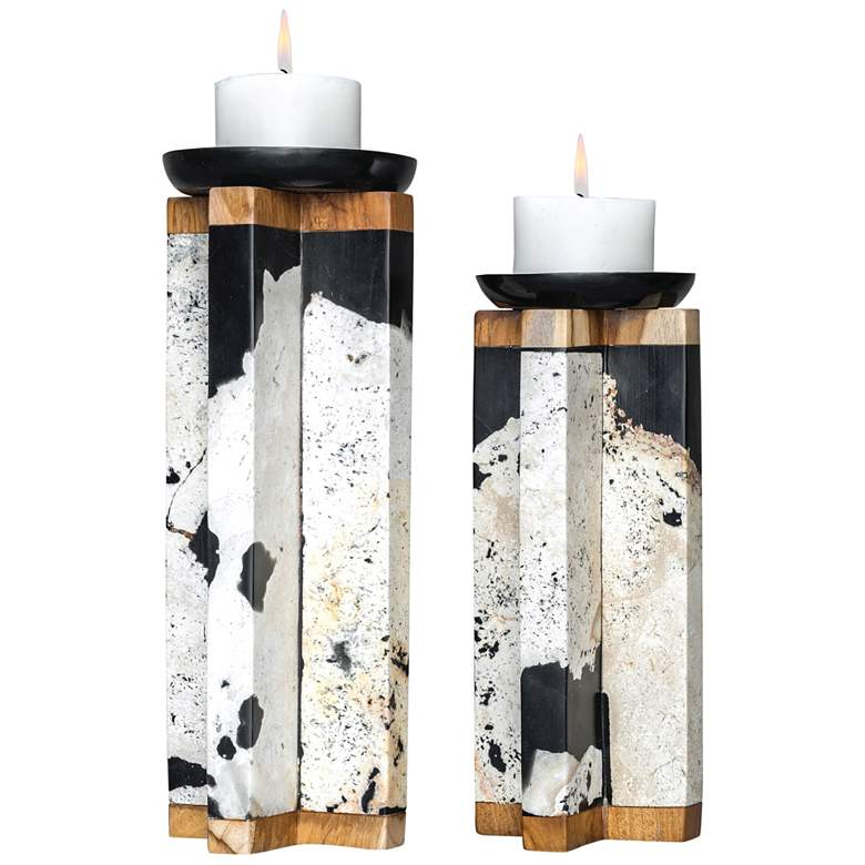 Uttermost Illini Coral Stone Pillar Candle Holders Set of 2