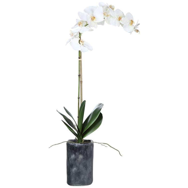 """Eponine White Orchid 34 1/4""""H Faux Flower in Gray Planter"""