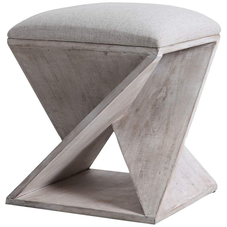 Uttermost Benue White Washed Wood Accent Stool