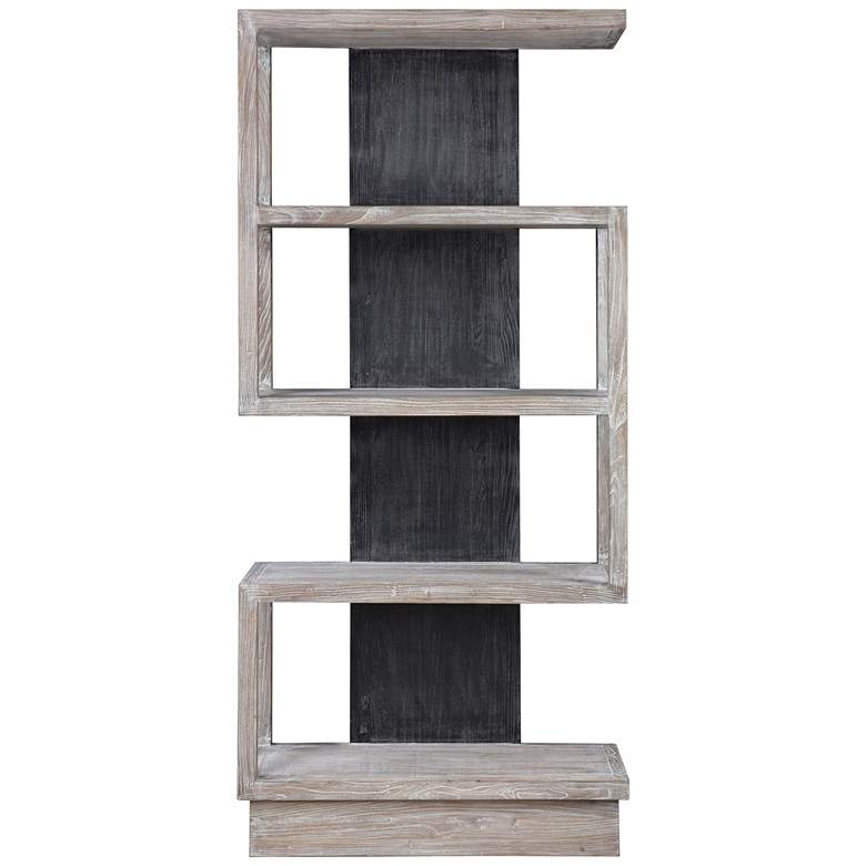 "Uttermost Nicasia 36"" Wide Light Gray and Black 4-Shelf Etagere"