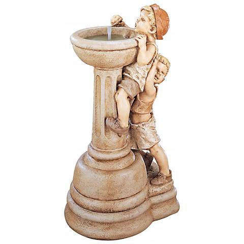 "Henri Studio 35"" High Willie and Wilma Cast Stone Fountain"