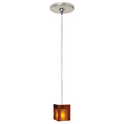 Cube Satin Nickel Amber Glass Tech Lighting Mini Pendant