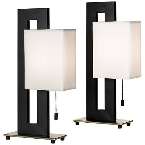 Black Floating Square Table Lamps Set of 2 with 9W LED Bulbs