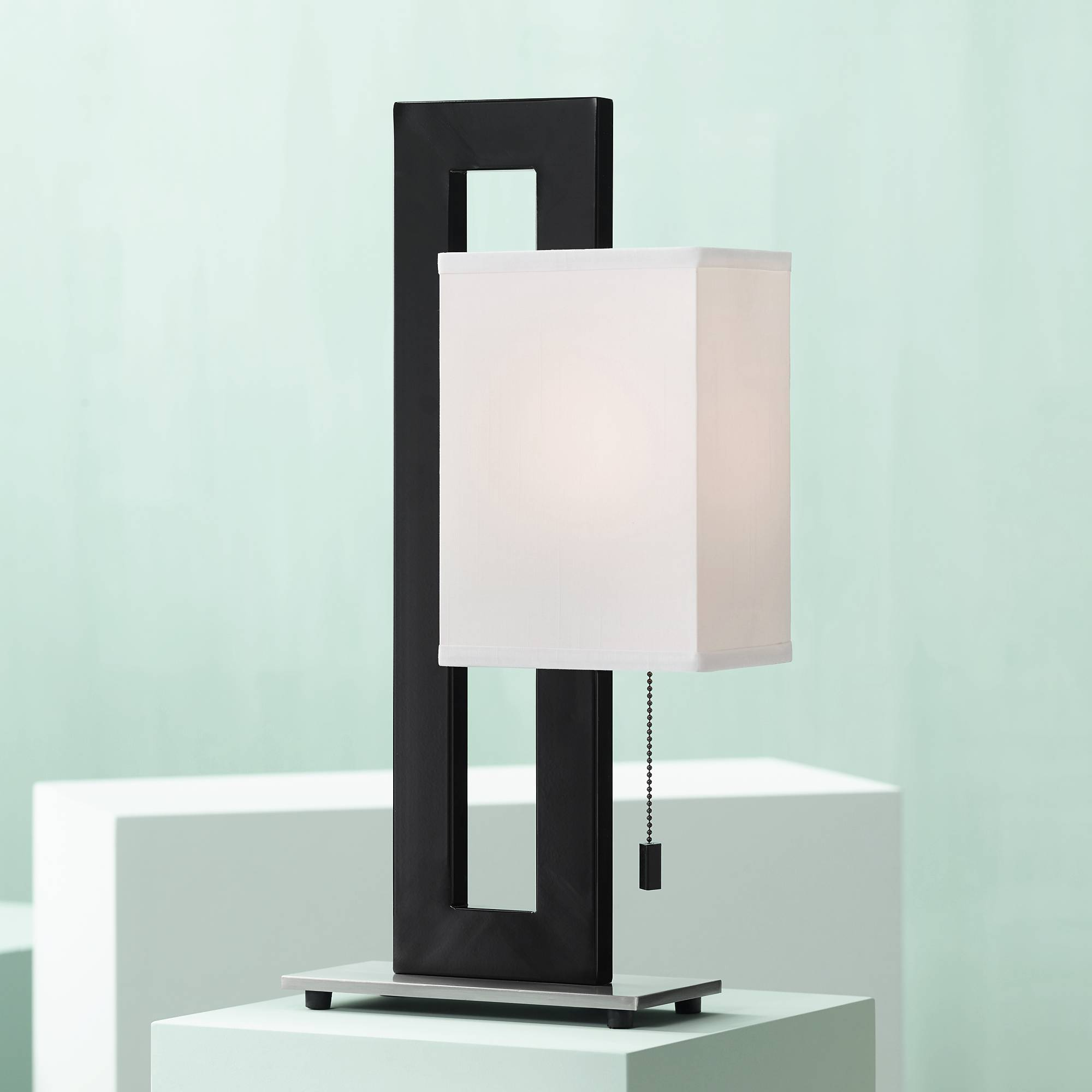 Modern Accent Table Lamp Black Metal White Floating Box For Living