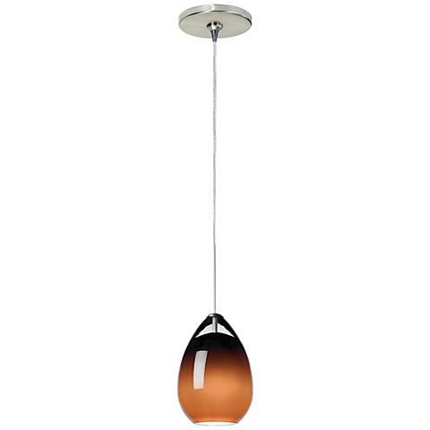 "Tech Lighting Alina 4""W Brown Glass Nickel Mini Pendant"